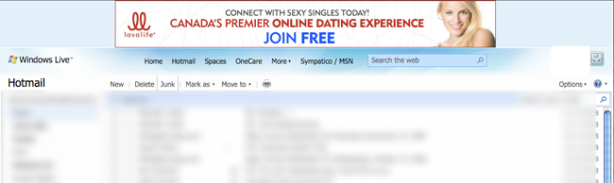 Screenshot of Hotmail page