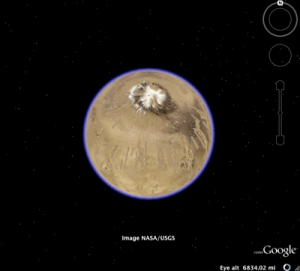 Screenshot of Mars from Google Earth 5.0